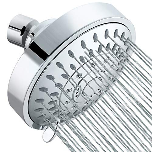 Tibbers High Pressure Shower Head,5 Settings Showerhead with Adjustable Metal Swivel Ball Joint,Excellent Shower Experience Even at Low Pressure and Water Flow (Fine Spray Chrome)