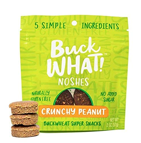 BuckWHAT Crunchy Peanut Nut Bar Bites No Added Sugar, Gluten Free Vegan Delicious Healthy Only 5 Ingredients Grain Free, Kosher, Protein Fiber, 4-2oz packs with 3 Snacks