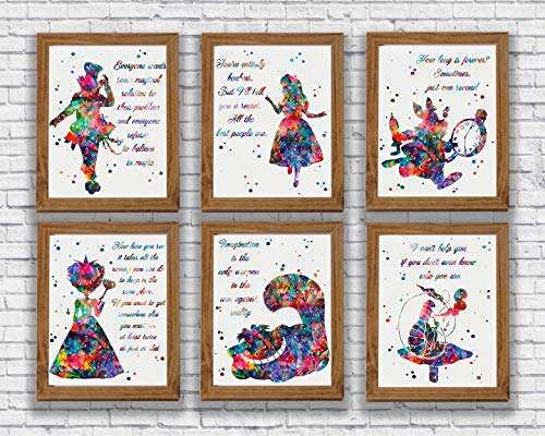 Alice in Wonderland Quote Watercolor Print Set Alice Quotes Wall Art Kid's Room Wall Decor Alice Mad Hatter Cheshire Cat White Rabbit Queen of Hearts Caterpillar Artworks Nursery Home -
