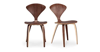 Kardiel Manta Modern Dining Chair 2 Piece Set, Walnut Wood