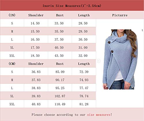 d764c1ee4 Inorin Womens Swearers Oversized Fall Pullover Cowl Neck Chunky Knit Wrap  Sweater Jumper