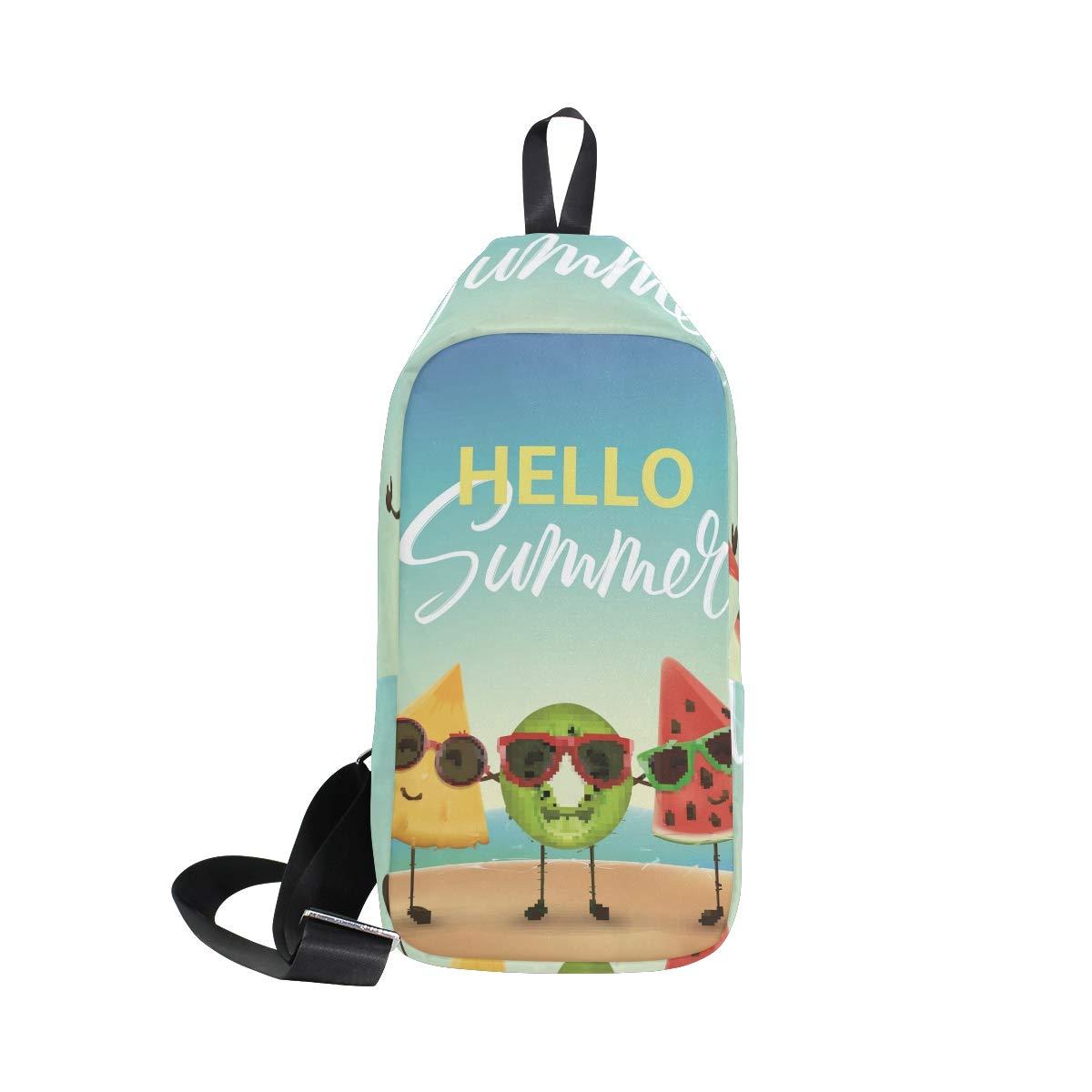 AHOMY Summer Cartoon Watermelon Kiwi And Pineapple Messenger Bag Small Travel School Sling Bag Crossbody Bag