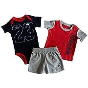 Nike Air Jordan Baby Boys' 3 Pc Short Sleeve Bodysuit, T-Shirt, & Shorts Set (3/6M, Dark Grey Heather)