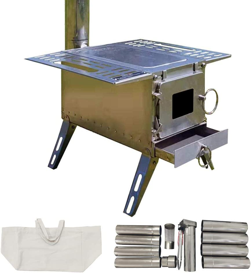 Close-up photo of a tent stove, body rectangular in shape with expanded sides for additional space and four metal supporting legs.