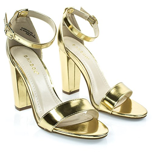 Bamboo Womens Single Band Chunky Heel Sandal With Ankle Strap (9, Gold Patent)