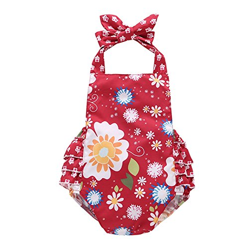 ' Red Cotton Ruffled Floral Print Rompers Jumpsuits Summer Clothing (0-3M) (Zelda Floral Print)