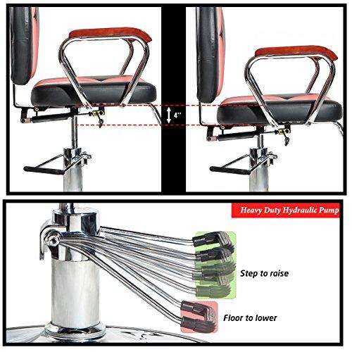 Merax Reclining Hydraulic Barber Chair Styling Salon Beauty Shampoo Spa Equipment (Black&Red) by Merax (Image #3)
