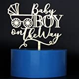 Mirror Gold Baby Boy on the Way Cake Toppers Baby Shower Party Decorations