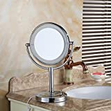 LIUJIANGLONG Bathroom Dressing table LED with Lighted Vanity Mirror rotating mirror Copper frame and Stainless steel base High-definition vanity mirror,silver
