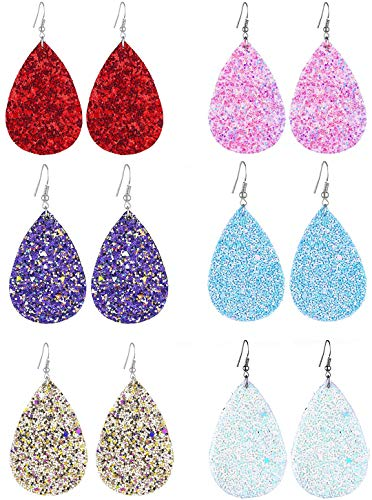 FIBO STEEL 8 Pairs Lightweight Leather Drop Earrings for Women Girls Boho Teardrop Dangle Earring Set (D) ()
