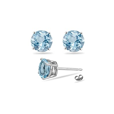 4340156ea Image Unavailable. Image not available for. Color: 2.10-2.50 Ct 7 mm AA Round  Aquamarine Stud Earrings in 14K White Gold
