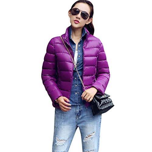 Evion Women's Fashion Warm Ultralight Lightweight Puffer Winter Down Jacket Purple