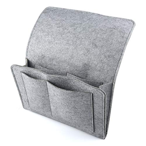 HOGAR AMO Thick Felt Bedside Caddy Pocket Sofa Bed Tidy Pocket Organiser for Phone, Remote, Magzine, Glasses, Book, Pad with Cable Holes & 4 Pockets