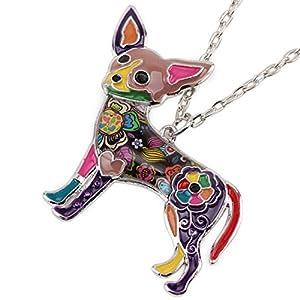 """BONSNY Signature DOG collection """"CANDY"""" Enamel Zinc Alloy Chihuahua Dog Statement Pendant Necklace Unique Design (Purple)"""