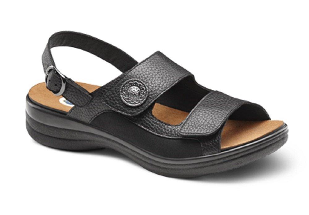 Dr. Comfort Lana Women's Comfort Extra Depth Sandal Leather Velcro - Black 11.0 Medium/Wide (B-D) Black Velcro US Woman