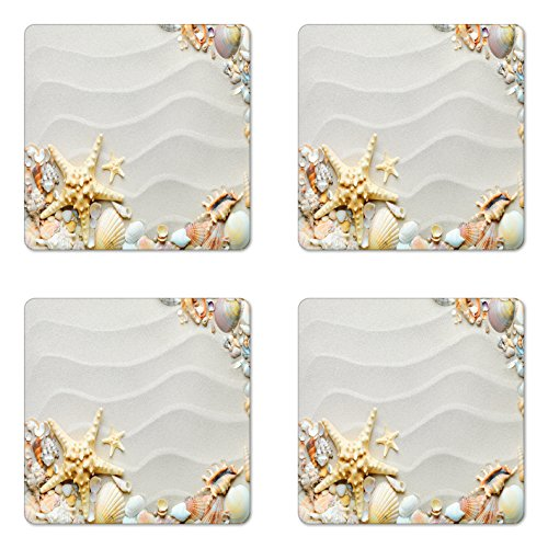 Ambesonne Starfish Coaster Set of Four, Seacoast with Sand with Colorful Various Seashells Tropics Aquatic Wildlife Theme, Square Hardboard Gloss Coasters for Drinks, ()