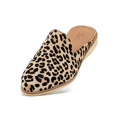 Rollie Women's Leopard Animal Print Madison Mule Camel Leopard Pony Flat Slides Mules, 41 M EU