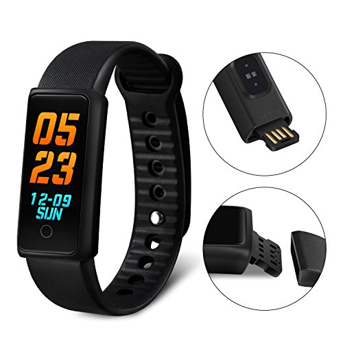 K&J CHIPMUNK Fitness Tracker Bracelet Bluetooth Color Screen Waterproof Smart Wristband Fitness Band with Heart Rate Monitor BP Test Activity Tracker Remote Shutter Music for for Kids Women and Men by K&J CHIPMUNK