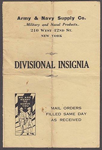 Insignia Folder - Army & Navy Supply Divisional Insignia sales folder NYC ca 1915
