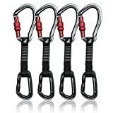 Fusion Climb 4-Pack 12cm Tactical Military Rescue Quickdraw Set with Techno Wave Screw Gate Gray/Contigua Straight Gate Black Carabiners