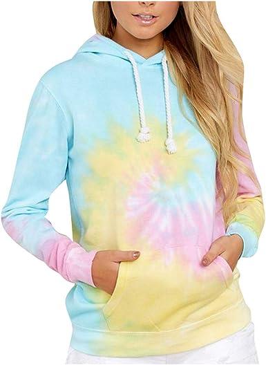 Women/'s Hoodies Autumn Winter Stylish Look Hooded Tie-dyed Printed Loose Fit Long Sleeves Sweatshirt Blouse Tunics Tops