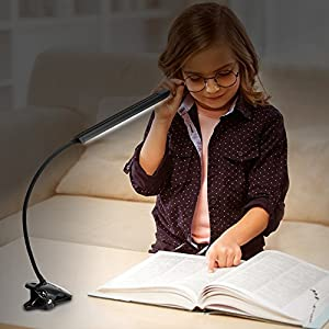 KEDSUM Dimmable LED Desk Clip Light Clamp Lamp, 5 Lighting Modes, 5-Level Dimmer, Clip On Book Lighting,Touch Control Panel, Flexible Gooseneck, 10 Watt (Piano Black)