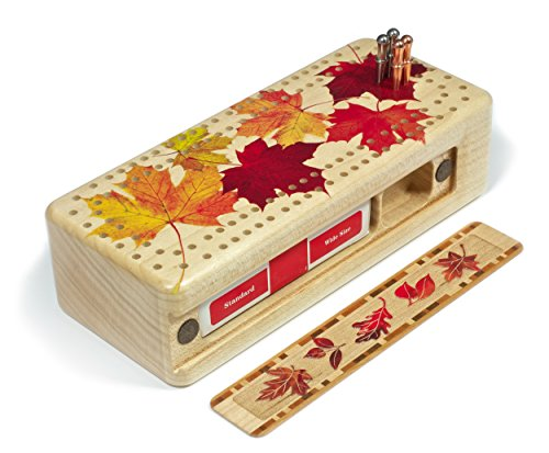 Maple Leaves in Color Wooden Cribbage Board Metal Pegs and Deck of cards