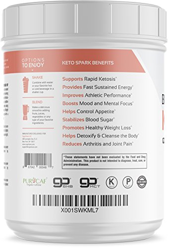 Keto Spark Energy Supplement – Exogenous Ketone Drink Mix with BHB Salts goBHB , MCT Oil Powder goMCT , Organic Caffeine PurCaf , Collagen – Ketogenic Diet, Weight Loss Fat Burning – 7.65 oz