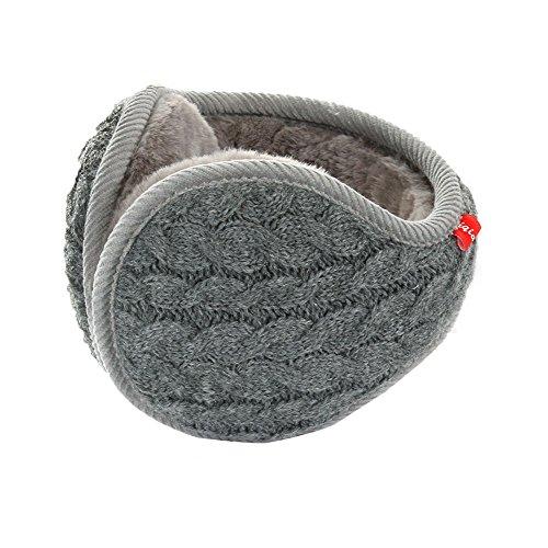 Winter Knit Ear Warmers for Women Foldable Unisex, Gray,One size