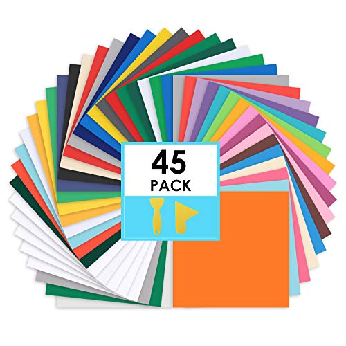 """CONERX Permanent Adhesive Vinyl Sheets - 12""""x 12"""" - 45 Sheets Assorted Colors (Matte and Glossy) Includes Squeegee Works with Cutting Machines Such as Cricut"""