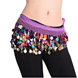 Belly Dancing Dance Waistband Hip Skirt Scarf With Multicolor Sequins