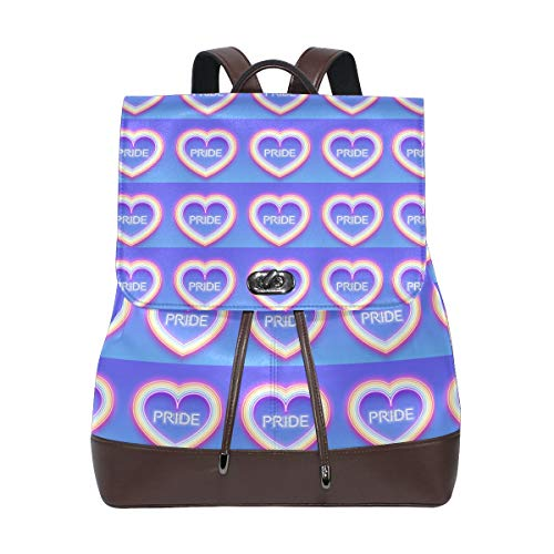 (Leather fashion Neon Glowing Rainbow Heart backpack For Work/Travel/Leisure/school bag)