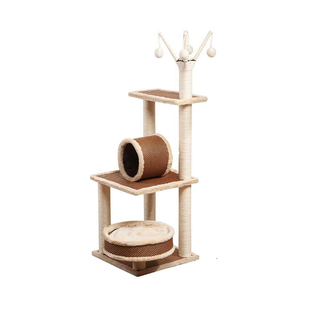 30cm40cm120cm Better Cat Tree, Large Rattan Board Cat Climbing Frame with Cat Basket and Pipeline Cat Tower Sisal Pillar Cat Activity Center SL-039 (Size   30cm40cm120cm)