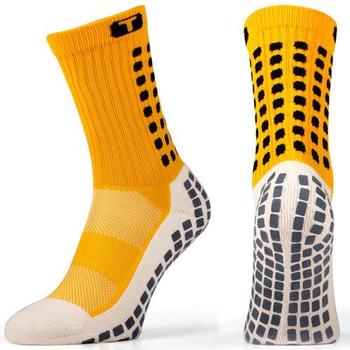 TRUSOX Mid-Calf Crew Cushion Soccer | Football Socks (Pair) with Anti Slip Pads To Reduce Blisters, for Men and Women, Yellow, Small, Shoe Size US(M 3-6.5, W 4-7.5)