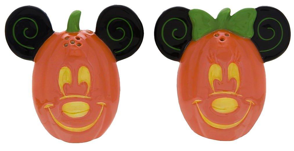 Disney Parks Mickey Minnie Mouse Pumpkin Halloween Salt Pepper Shakers