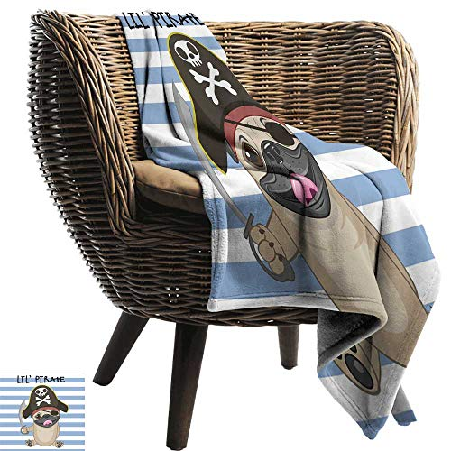 WinfreyDecor Pirate Warm Blanket Buccaneer Dog in Cartoon Style Costume Lil Pirate Striped Backdrop Funny Animal All Season for Couch or Bed 84