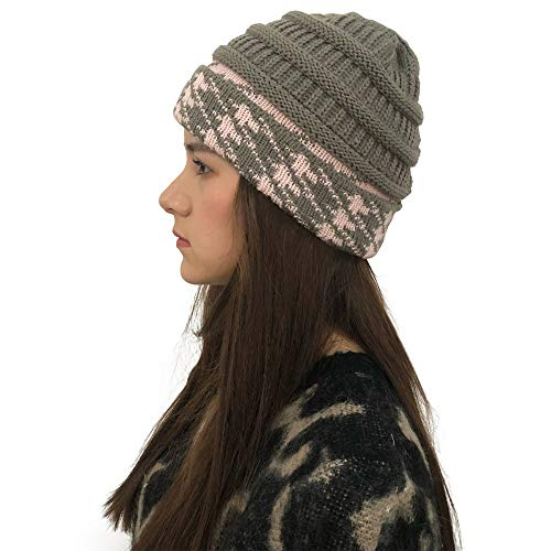 Yezijin Women Men Winter Outdoor Hats Soft Stretch Knit Hat Thick Warm Cap (Dark Gray) -
