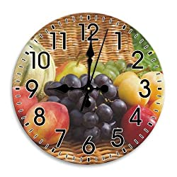 Fruit Quiet Round Wall Clock Frameless DIY Cool Arabic Numbers 10 Inch / 25 cm Diameter
