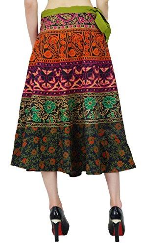 Las Mujeres Usan Algodón Patrón Floral Falda Pareo Hippie Mágico Wrap Multicolor (Diseño # 3)