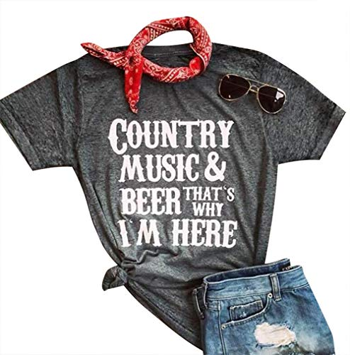 Country Music Beer That's Why I'm Here T Shirt for Women Drinking Wine Short Sleeve Tees Beer Music Party Casual Top Shirts Size S (Black) ()