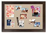 Framed Fabric Bulletin Board with Espresso Frame / Khaki Fabric