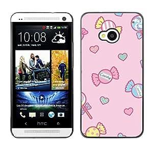 Caucho caso de Shell duro de la cubierta de accesorios de protección BY RAYDREAMMM - HTC One M7 - Drawing Pink Kids Pink