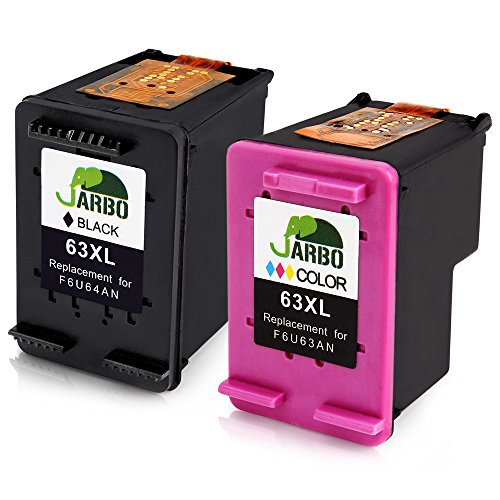 JARBO Remanufactured for HP 63XL Ink Cartridges High Yield, 1 Black 1 Tri-color, Ink Level Display Used in HP Envy 4520 4516 HP Officejet 4650 3830 3831 4655 Deskjet 2130 1112 3630 3633 3634 Printer