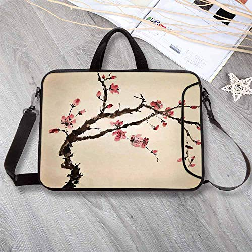 - Japanese Lightweight Neoprene Laptop Bag,Traditional Chinese Paint of Figural Tree with Details Brushstroke Effects Print Laptop Bag for Laptop Tablet PC,8.7