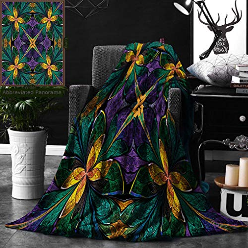 Unique Custom Digital Print Flannel Blankets 3D Fractal Decor Antique Ornate Symmetric Stained Glass Style Floral Pattern With Super Soft Blanketry for Bed Couch, Throw Blanket 50 x 70 Inches ()