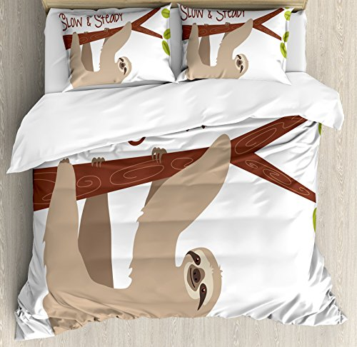 Sloth Duvet Cover Set Queen Size by Ambesonne, Cartoon Style Australian Wildlife Mammal on Tree Branch Slow and Steady Phrase, Decorative 3 Piece Bedding Set with 2 Pillow Shams, Tan Chesnut Brown