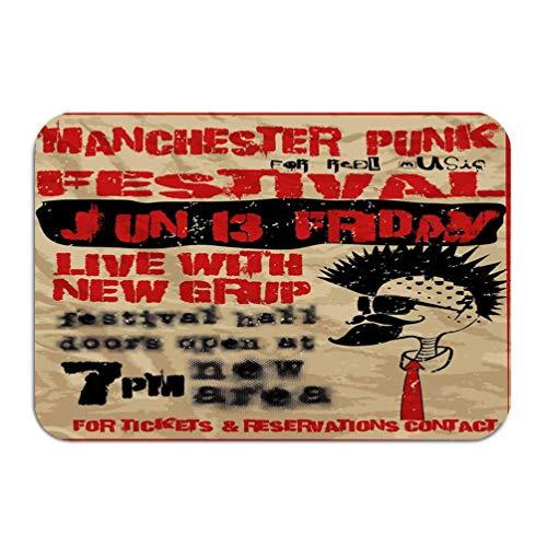 YGUII Outside Shoe Non-Slip Color Dot Doormat Punk Music Festival Manchester Vintage Man Graphic Design Art Mats Entrance Rugs Carpet 16X23.6in (40x60cm)