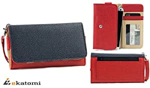 [Metro] BLUE & RED | Universal Women's Wallet Wrist-let Clutch for Nokia N810 Phone Case. Bonus Ekatomi Screen Cleaner