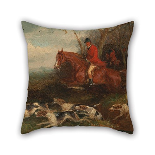 Slimmingpiggy 16 X 16 Inches   40 By 40 Cm Oil Painting William J  Shayer   Foxhunting  Breaking Cover Pillowcase Each Side Is Fit For Girls Home Father Play Room Girls Home Theater