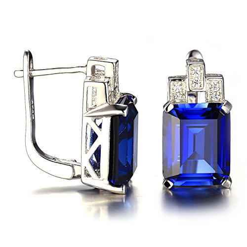 Jewelrypalace Womens 925 Sterling Silver Earrings Clip On Emerald Cut 12.15ct Created Blue Sapphire